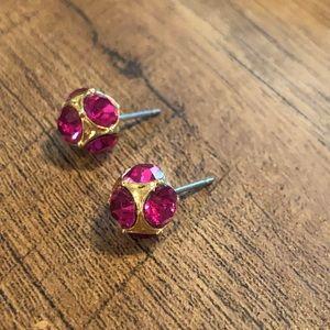 Kate Spade Gold and Pink Rhinestone Stud Earrings